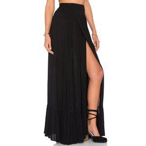 WF Maxi Skirt Wrap Long Slit High-Waist Waisted S